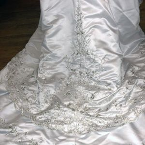 Mary's Bridal Dresses - Mary's Wedding Gown BeJeweled Halter Satin & Train
